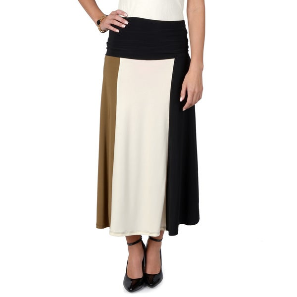 Timeless Comfort by Journee Women's Tonal Colorblocked A-line Skirt