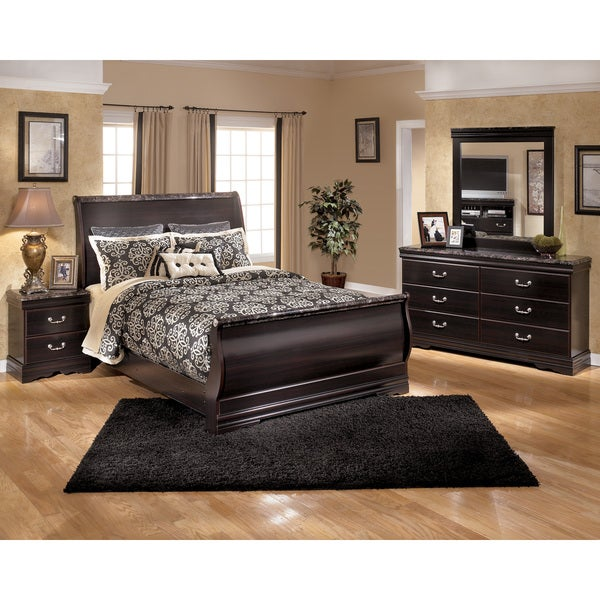 Signature Design By Ashley Esmeralda Merlot Sleigh Bed
