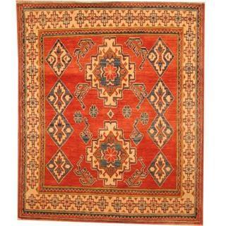 Herat Oriental Afghan Hand-knotted Kazak Rust/ Beige Wool Rug (4'2 x 5')