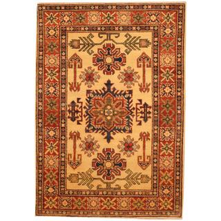Herat Oriental Afghan Hand-knotted Kazak Beige/ Red Wool Rug (3'5 x 4'11)