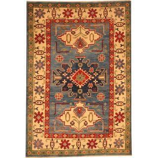 Herat Oriental Afghan Hand-knotted Kazak Blue/ Beige Wool Rug (4' x 5'10)