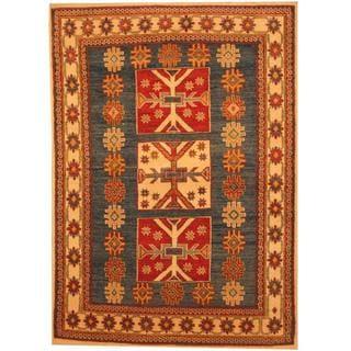 Herat Oriental Afghan Hand-knotted Kazak Blue/ Beige Wool Rug (4'5 x 6'2)