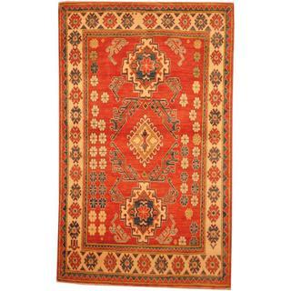 Herat Oriental Afghan Hand-knotted Kazak Red/ Beige Wool Rug (4'3 x 6'10)