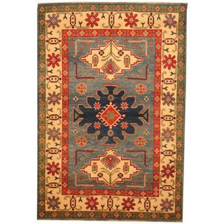 Herat Oriental Afghan Hand-knotted Kazak Blue/ Beige Wool Rug (4'3 x 6'2)