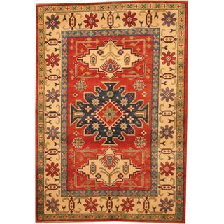 Herat Oriental Afghan Hand-knotted Kazak Red/ Beige Wool Rug (4'1 x 5'10)