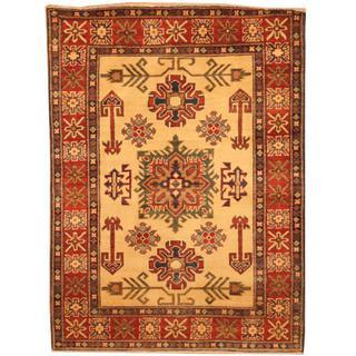 Herat Oriental Afghan Hand-knotted Kazak Beige/ Red Wool Rug (3'5 x 4'8)