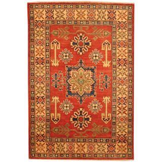 Herat Oriental Afghan Hand-knotted Kazak Red/ Beige Wool Rug (3'4 x 5')