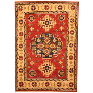 Herat Oriental Afghan Hand-knotted Kazak Rust/ Beige Wool Rug (3' x 5'11)