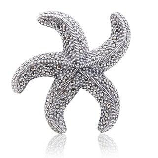 Blue Box Jewels Marcasite Starfish-shaped Brooch Pendant