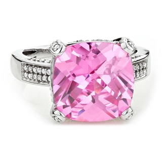 14k White Gold 1/2ct TDW Diamond and Pink Sapphire Ring (G-H, SI1-SI2)