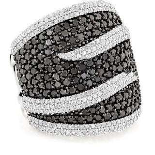 14k White Gold 4ct TDW Black and White Pave Diamond Cocktail Ring (H-I, SI1-SI2)