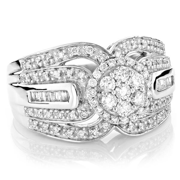 Luxurman 14k White Gold 1 1/5ct TDW White Diamond Ring (H-I, SI1-SI2)