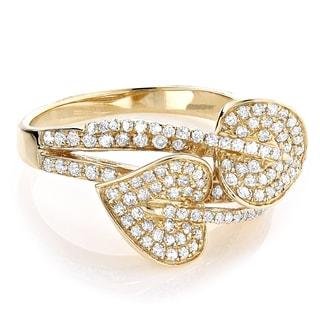 14k Yellow Gold 7/8ct TDW White Diamond Leaf Ring (H-I, SI1-SI2)