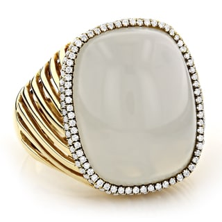 14k Yellow Gold 1/2ct TDW White Diamond White Moonstone Ring (G-H, VS1-VS2)