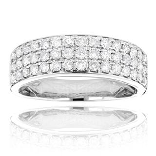 Luxurman 14k White Gold 1 1/3ct TDW 3-row White Diamond Fashion Ring (G-H, SI1-SI2)