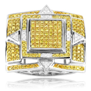 Luxurman 10k White Gold 1 1/10ct TDW Men's Yellow Diamond Ring (G-H, SI1-SI2)
