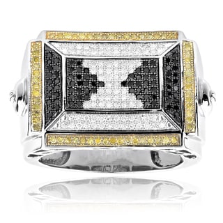 Sterling Silver 7/8ct TDW White/ Yellow/ Black Diamond Pyramid Men's Ring (H-I, SI1-SI2)