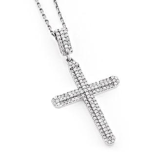 Luxurman 14k White Gold 3/5ct TDW White Diamond Cross Necklace (H-I, SI1-SI2)