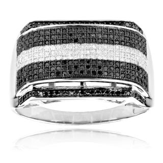 Luxurman 10k White Gold 4/5ct TDW Black and White Diamond Men's Ring (H-I, SI1-SI2)