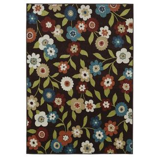 Brown Floral Indoor/outdoor Area Rug (7'8 x 9'10)