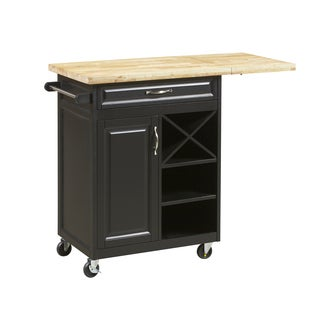 Black Island Kitchen Cart with Large Worktop