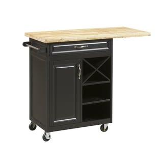 Black Island Kitchen Cart with Large Worktop