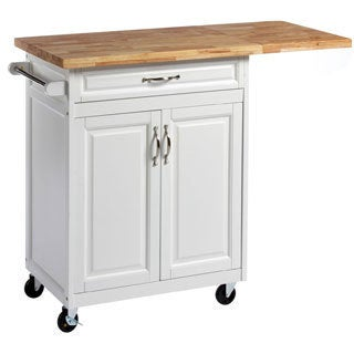 Solid White 1-drawer Kitchen Cart with Large Worktop