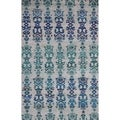 Medallion Blue Hand-knotted Rug (5' x 8')