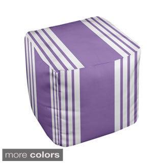 13 x 13-inch Two-tone Purple Stripe Decorative Pouf Ottoman
