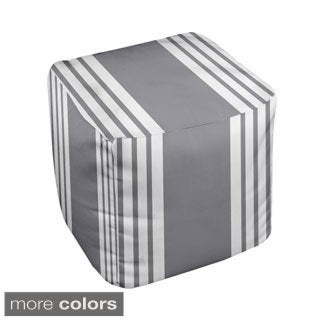 13 x 13-inch Multi-colored Stripe Print Decorative Pouf Ottoman