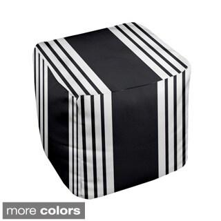 13 x 13-inch Two-tone Stripe Print Decorative Pouf