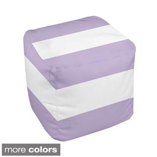 13 x 13-inch Two-tone Block Stripe Decorative Pouf