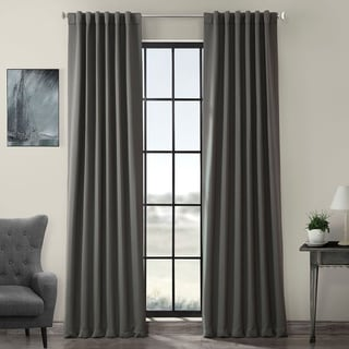 Charcoal Rod Pocket and Back Tab Blackout Curtain Panel Pair