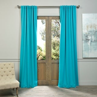 Aqua Rod Pocket and Back Tab Blackout Curtain Panel Pair