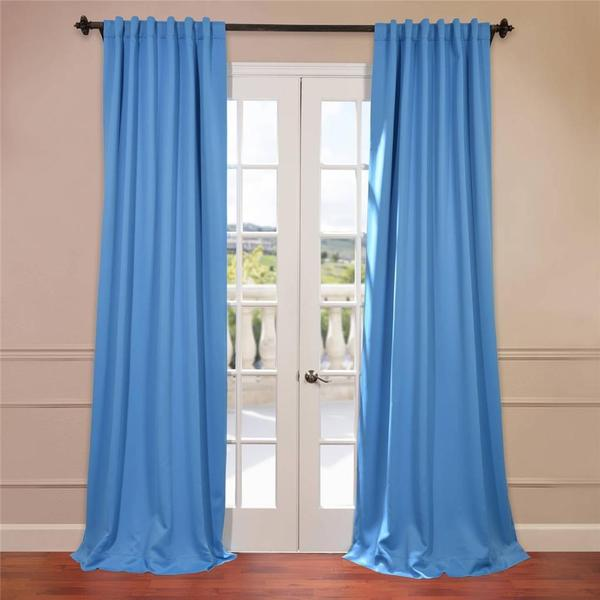 Sky Blue Rod Pocket and Back Tab Blackout Curtain Panel Pair