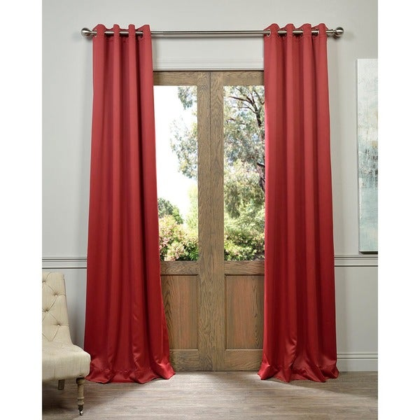 Red Grommet Top Blackout Curtain Panel Pair