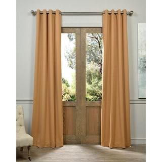 Tan Grommet Top Blackout Curtain Panel Pair
