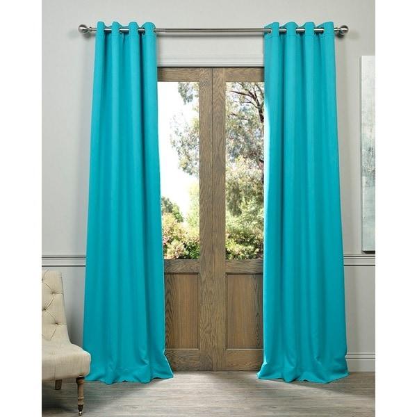 Aqua Grommet Top Blackout Curtain Panel Pair