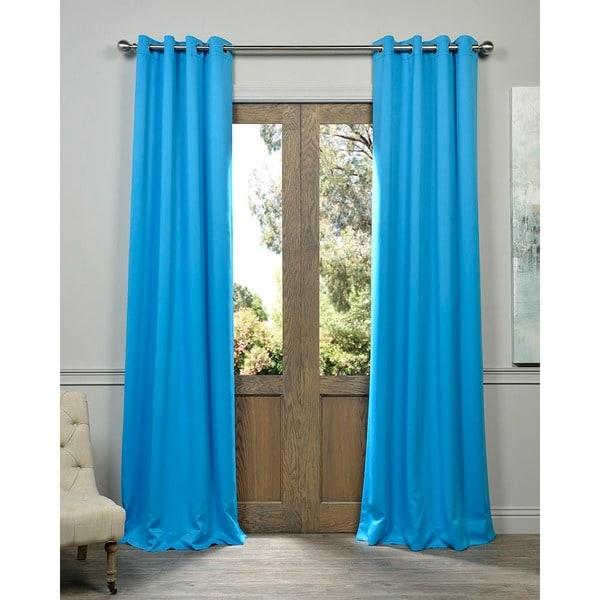 Sky Blue Grommet Top Blackout Curtain Panel Pair