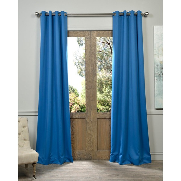 Royal Blue Grommet Top Blackout Curtain Panel Pair