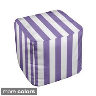 13 x 13-inch Two-tone Striped Decorative Pouf