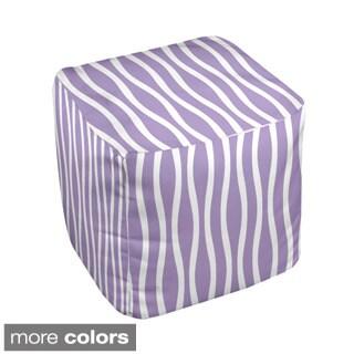 13 x 13-inch Two-tone Wavy Stripe Decorative Pouf