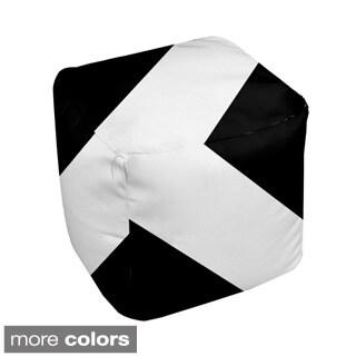 18 x 18-inch Two-tone T-stripe Decorative Pouf