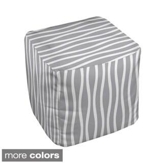 13 x 13-inch Neutral Wavy Stripe Decorative Pouf