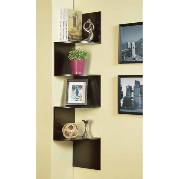 Black Contoured Metal Corner Bookcase