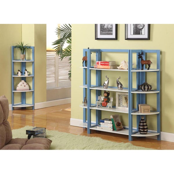 Two-tone Blue/ White 4-shelf Bookcase