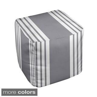 18 x 18-inch Two-tone Stripe Print Decorative Pouf Ottoman