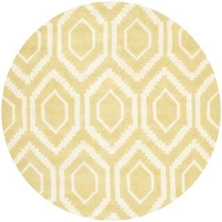 Safavieh Handmade Moroccan Chatham Light Gold/ Ivory Wool Rug (4' Round)