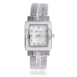 Geneva Platinum Women's Rhinestone Silvertone Cuff Watch