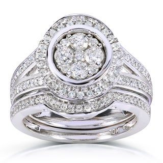 Annello 10k White Gold 4/5ct TDW Round-cut Halo Diamond Bridal Ring Set (H-I, I1-I2)